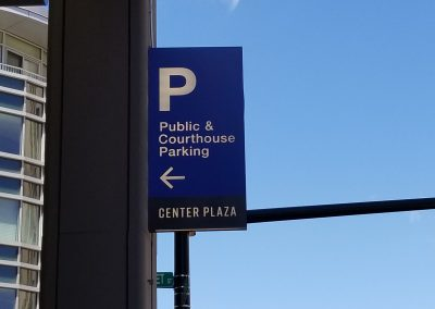 Center Plaza Parking Blade Sign