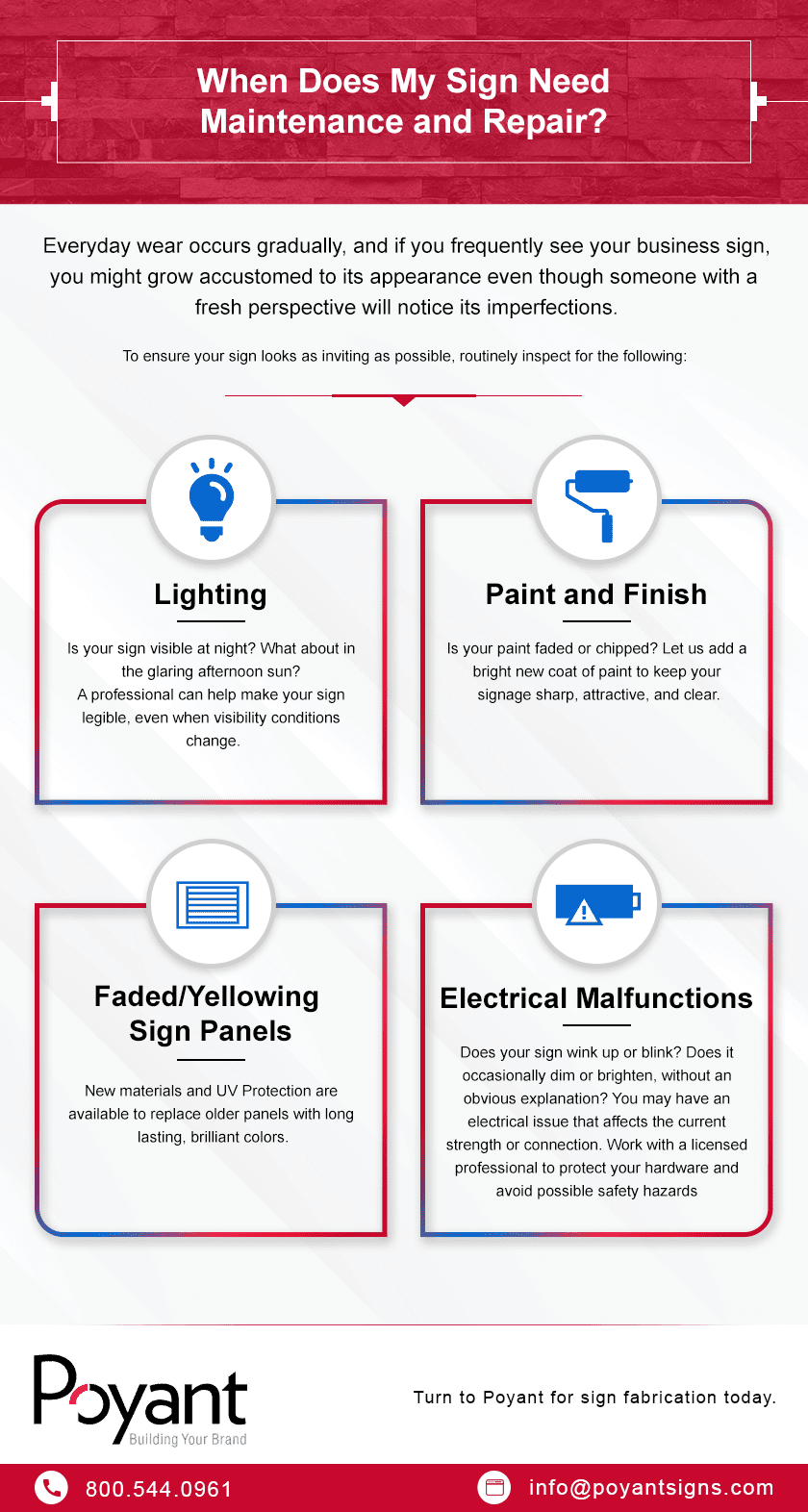 Infographic describing when sign maintenance and repair is needed